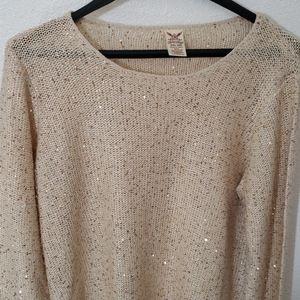 Faded glory sequined sweater, cream, xxl (20)
